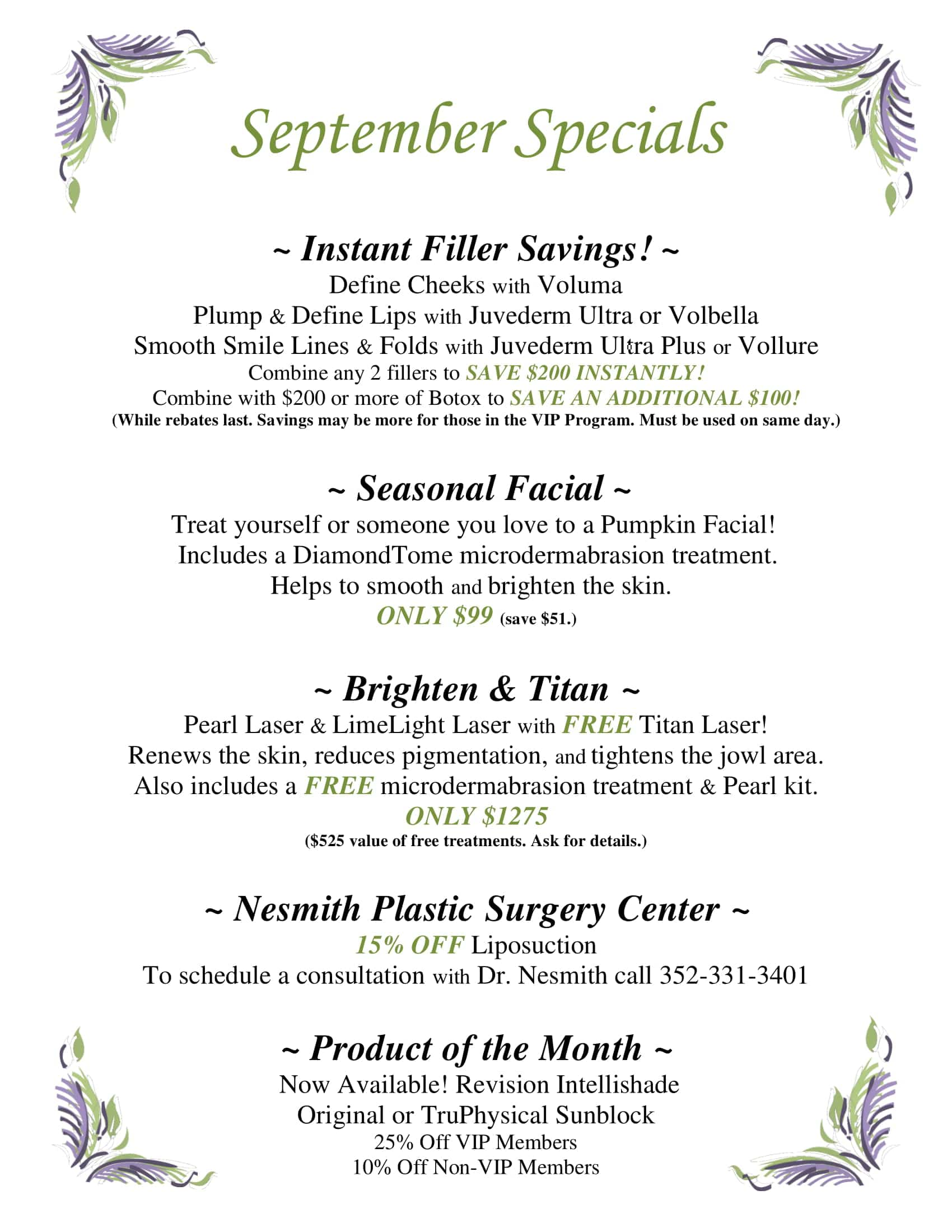 Monthly Specials & Coupons - Dermacare Gainesville
